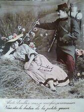 cpa fantaisie militaria soldat patriotique couple postal military soldier lovers