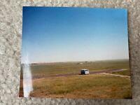 Powder Blue VW Volkswagen Van In Remote Field Vintage Color Photograph