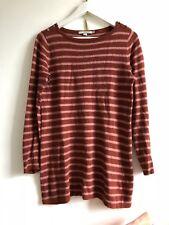 Boden Jumper Rust Pink Buttons Longline Cotton Cashmere  Blend Stripped 10 Brown