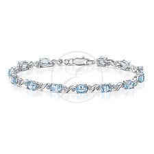 Plata De Ley Brazalete Diamante Topacio Azul y Diamante Pulsera