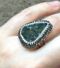 Turkish Handmade Ring Jewelry Druzy Crystal 925 Sterling Silver Statement 6 Nice