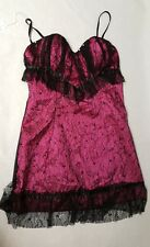 Black & Pink Lace Babydoll Lingerie Set Underwired Padded Size 8-10 Chemise