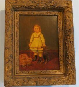 Antique Folk Art Oil Painting Child Dog (Whippet ?) Baby Buggy