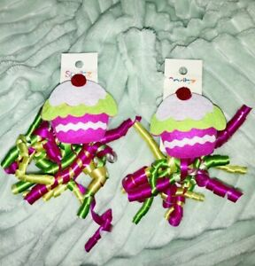 Cupcake Gift Accent Gift Toppers With Curled Ribbon Set Of 2 New NWT