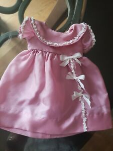 """Silk Ruffled Ribbon bows pink dress for 11"""" Doll Dress outfit"""