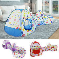 Kids Play Tent Pop Up Cubby Playhouse Tunnel Play Set Toddler Balls Pit 3 in 1