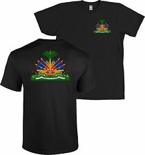 Haiti Coat of Arms Front & Back Print T Shirt Haitian Caribbean Republic - NEW