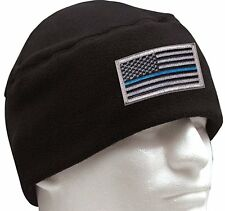 Black Polar Fleece Thin Blue Line Support The Police Watch Cap