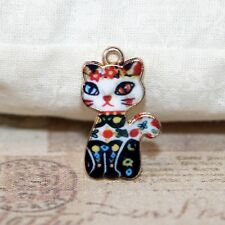 4x Cute enamel sitting cat charm pendants 21mm x 15mm gold plated