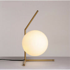 Modern 20cm White Glass Ball Table Lamp Office Bedroom Study Bedside Desk Light