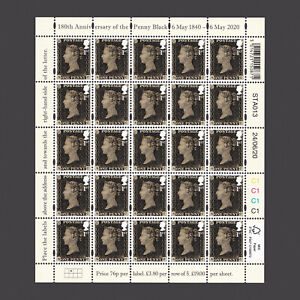 2020 180th Anniversary of the Penny Black Sheetlet 2nd Print Date 24-06-20