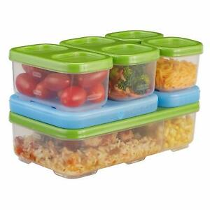Rubbermaid Lunch Blox Entrée Kit Green Blue Ice Food Organized Compact BPA Free