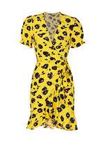 Diane von Furstenberg Women's Dress Yellow Size 8 Wrap Waist-Tie $248- #016