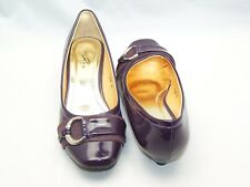Size 4 purple patent rounded toe, low wedge heel court shoes from Lunar