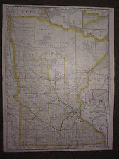 1890 LARGE MAP ~ MINNESOTA STATE COUNTY RAILROAD ~ EXCELLENT CONDITION MCNALLY