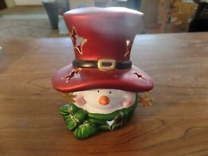 """6"""" Tall Ceramic Snowman Candle Holder #2881"""