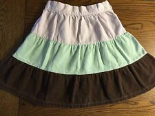 *GYMBOREE* Girls WINTER BALERINA Pink Mint Brown Color Block Corduroy Skirt Sz 7