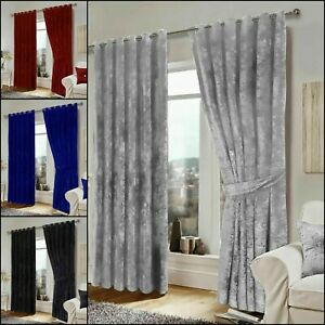 Super soft Crushed Velvet Eyelet Ring Top Ready Made fully Lined  Pair Curtain