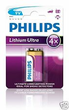 Philips 6FR61LB1A/10   9V Block Batterie Lithium Ultra Ideal für Rauchmelder