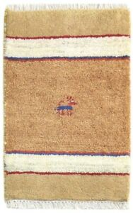 100% Wool Sand Rug 1' X 2' Tribal Hand Knotted Gabbeh Southwestern Small Carpet