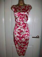 ✨ Beautiful Size 18 Cream Fuschia Satin Occasion Dress