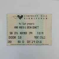 Hank Marvin Brian Bennett 27 Nov 94 Birmingham Symphony Hall concert ticket stub