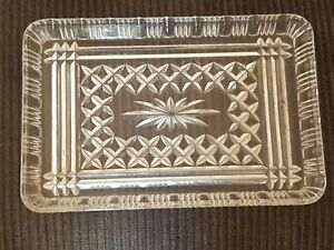 VINTAGE ART DECO CLEAR GLASS VANITY TRAY 1920s 1930s
