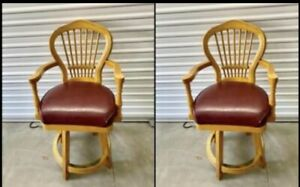 2 SOLID OAK SLAT BACK SWIVELS COUNTER STOOLS CHAIRS With Brass Footrest