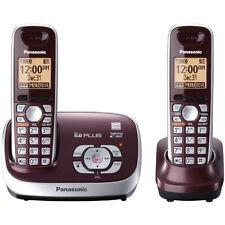 Panasonic 2 Handsets Cordless Phone, Wine Red (Refurbished) KXTG-6572R