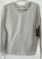 NEW ~ OLD NAVY ACTIVE GO-DRY Gray Mesh Cut Out Sweatshirt Thumb Hole Tunic L $23