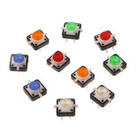 10 Pcs LED Light Momentary Tactile Tact Push Button Switch 12x12x7.3mm 5 Colors