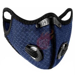 Navy Blue Face Mask Carbon Filter Valves Reusable Washable Adjustable Sports