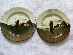 Royal Doulton Series Ware Rack Plates X 2 26.5cms FARMWORKERS-SILHOUETTE D3356