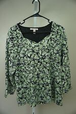 JM Collection Size LARGE Long Sleeve White Green V Cut Floral Shirt Blouse Top