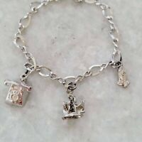 Vintage Hands in Prayer Rotary Phone Galleon Ship Sterling 925 Charm Bracelet