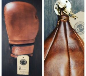 Retro Reborn 16oz Brown Leather Boxing Gloves + speed bag + Swivel Hook