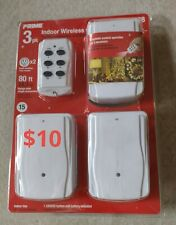 Prime Indoor 3 Pk Wireless Outlets w/ 1 Remote Controls Nib