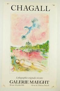 "vtg original 1981 MARC CHAGALL Galerie Maeght Paris exhibit poster 23x36"" ~ nude"