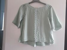Ladies Warehouse Mint Green Lace Top Size 8