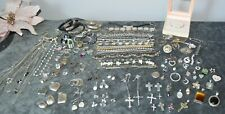 STERLING SILVER 925 STAMPED MIXED JEWELRY W/STONES LOT OF 137 PIECES 652 GRAMS