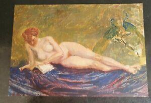 Vintage Female Nude Portrait Mid 20th Century Original Oil Painting on Board