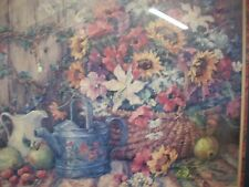 home interiors Large Picture Barbara Mock Flowers In A Basket In Solid Wood