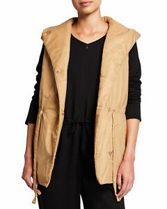 NWT Eileen Fisher Plus Honey Recycled Nylon Puffer Hooded Tunic Vest 1X