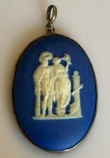 Rare Antique Wedgwood Medallion Cameo Steel Mount Pendant