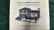 LIONEL # 982 SUBURBAN SPLIT LEVEL SET INSTRUCTIONS PHOTOCOPY