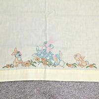 vintage baby crib sheet yellow cross stitch bunny rabbits 45 x 48 embroidered