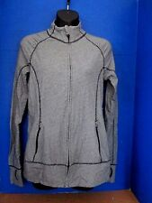 GAP BODY~Blue Striped FULL ZIP Workout Jacket with Thumbholes~Women's Medium