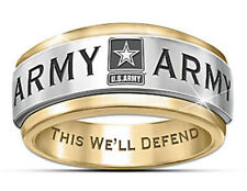 New US Army Silver And Gold Allot Engraved Ring Size 11
