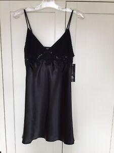 Jones New York Ladies Chemise Negligee Slip Size Small 10? Black Shiny BNWT