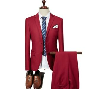 Men's 2PCS Suit Formal Dress Business Casual Blazer Jacket Pants Groom Wedding L